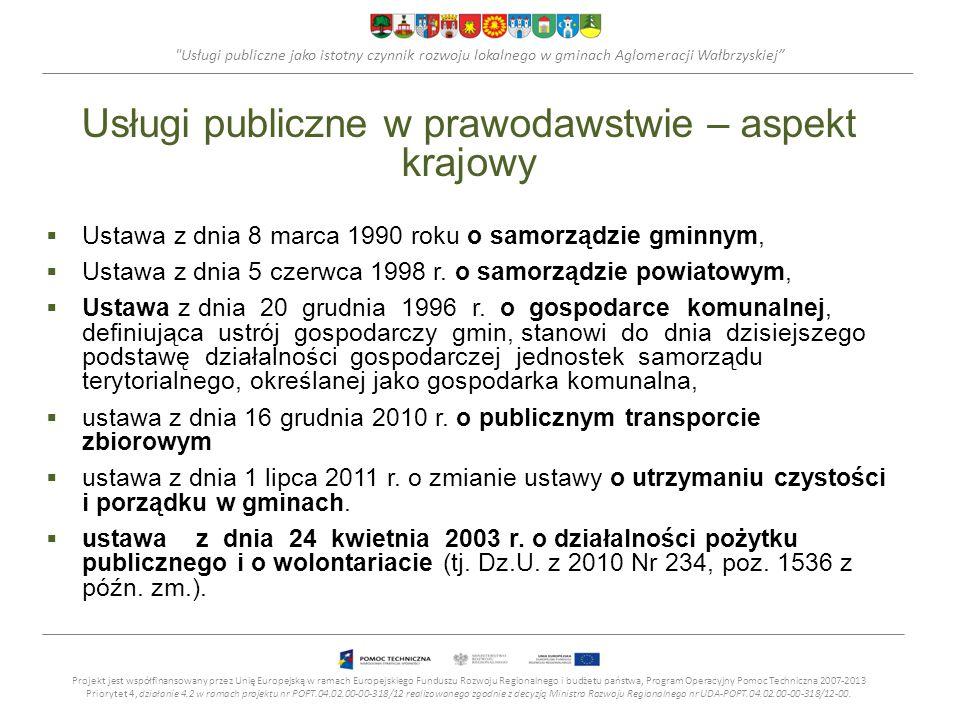 Usługi publiczne jako istotny czynnik rozwoju lokalnego w gminach Aglomeracji Wałbrzyskiej Usługi publiczne w prawodawstwie – aspekt krajowy  Ustawa z dnia 8 marca 1990 roku o samorządzie gminnym,  Ustawa z dnia 5 czerwca 1998 r.