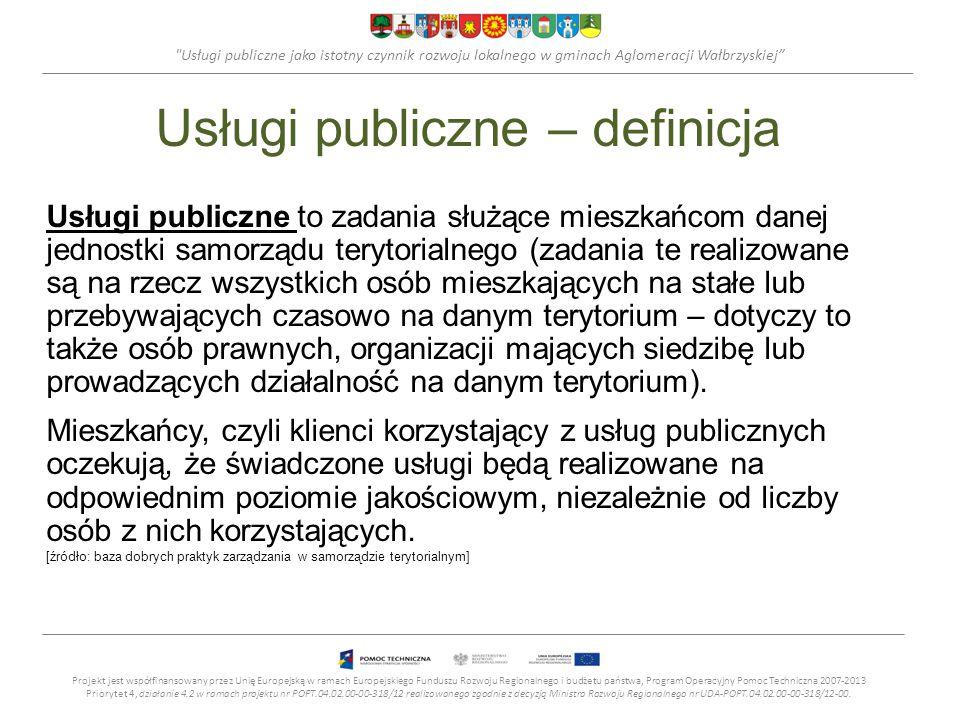 Usługi publiczne jako istotny czynnik rozwoju lokalnego w gminach Aglomeracji Wałbrzyskiej Usługi publiczne – definicja Usługi publiczne to zadania służące mieszkańcom danej jednostki samorządu terytorialnego (zadania te realizowane są na rzecz wszystkich osób mieszkających na stałe lub przebywających czasowo na danym terytorium – dotyczy to także osób prawnych, organizacji mających siedzibę lub prowadzących działalność na danym terytorium).