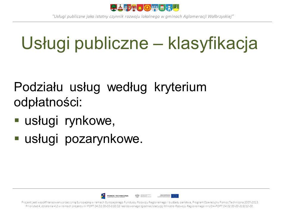 Usługi publiczne jako istotny czynnik rozwoju lokalnego w gminach Aglomeracji Wałbrzyskiej Usługi publiczne – klasyfikacja Podziału usług według kryterium odpłatności:  usługi rynkowe,  usługi pozarynkowe.