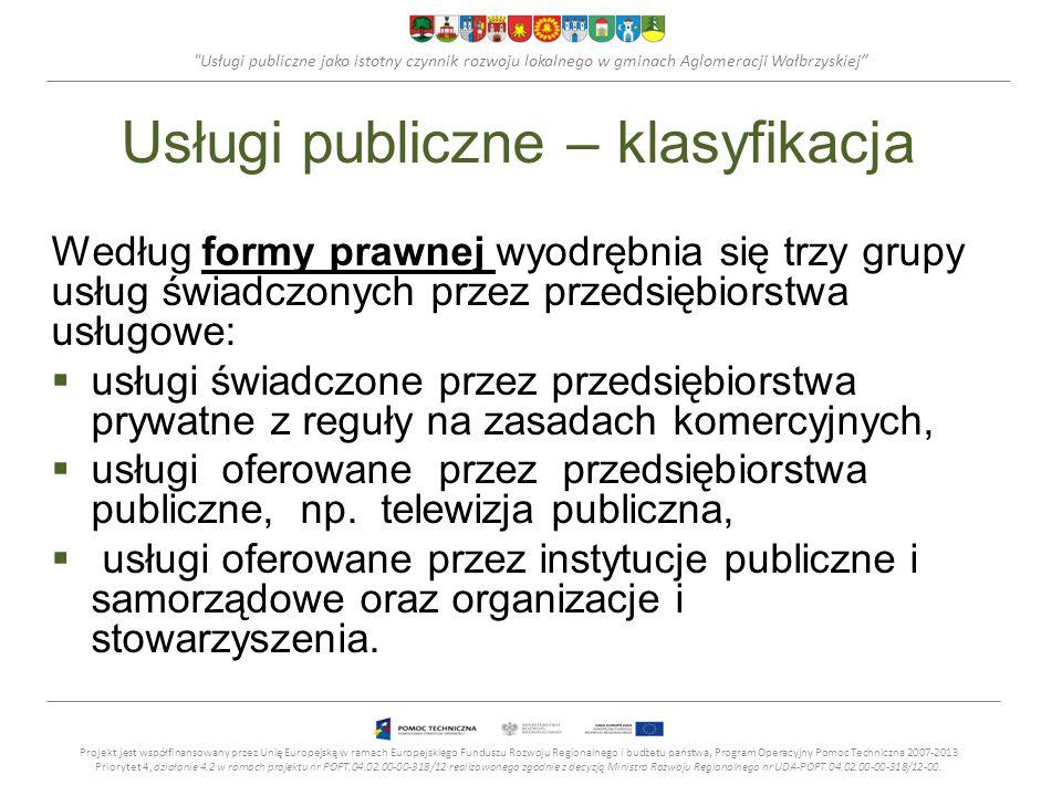 Usługi publiczne jako istotny czynnik rozwoju lokalnego w gminach Aglomeracji Wałbrzyskiej Usługi publiczne – klasyfikacja Według formy prawnej wyodrębnia się trzy grupy usług świadczonych przez przedsiębiorstwa usługowe:  usługi świadczone przez przedsiębiorstwa prywatne z reguły na zasadach komercyjnych,  usługi oferowane przez przedsiębiorstwa publiczne, np.