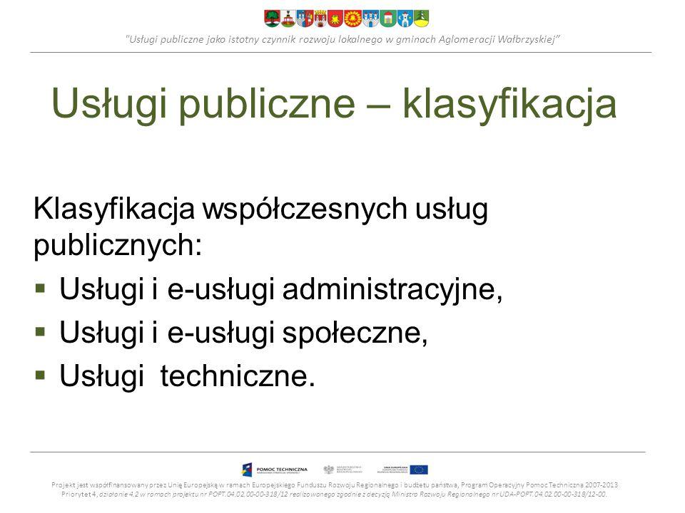 Usługi publiczne jako istotny czynnik rozwoju lokalnego w gminach Aglomeracji Wałbrzyskiej Usługi publiczne – klasyfikacja Usługi i e-usługi administracyjne Projekt jest współfinansowany przez Unię Europejską w ramach Europejskiego Funduszu Rozwoju Regionalnego i budżetu państwa, Program Operacyjny Pomoc Techniczna 2007-2013 Priorytet 4, działanie 4.2 w ramach projektu nr POPT.04.02.00-00-318/12 realizowanego zgodnie z decyzją Ministra Rozwoju Regionalnego nr UDA-POPT.04.02.00-00-318/12-00.