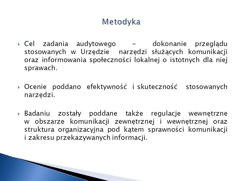  Cel zadania audytowego - dokonanie przeglądu stosowanych w Urzędzie narzędzi służących komunikacji oraz informowania społeczności lokalnej o istotny