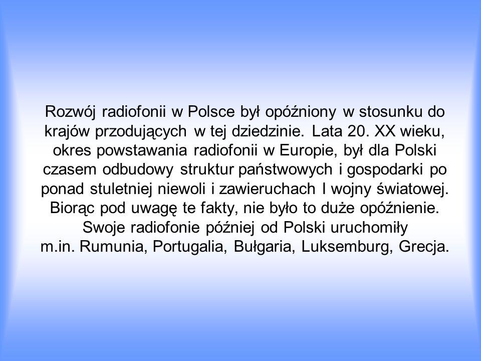 Rozwój radiofonii w Polsce był opóźniony w stosunku do krajów przodujących w tej dziedzinie.