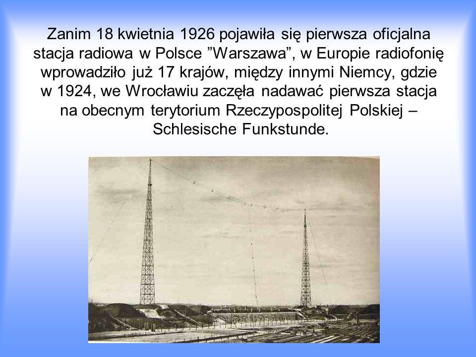 Zanim 18 kwietnia 1926 pojawiła się pierwsza oficjalna stacja radiowa w Polsce Warszawa , w Europie radiofonię wprowadziło już 17 krajów, między innymi Niemcy, gdzie w 1924, we Wrocławiu zaczęła nadawać pierwsza stacja na obecnym terytorium Rzeczypospolitej Polskiej – Schlesische Funkstunde.