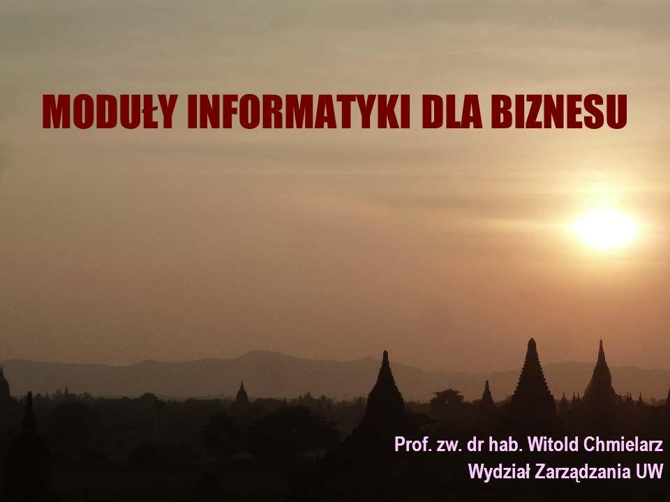 MODUŁY INFORMATYKI DLA BIZNESU Prof. zw. dr hab. Witold Chmielarz Wydział Zarządzania UW