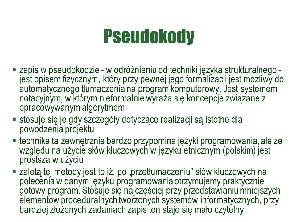 Pseudokody  zapis w pseudokodzie - w odróżnieniu od techniki języka strukturalnego - jest opisem fizycznym, który przy pewnej jego formalizacji jest
