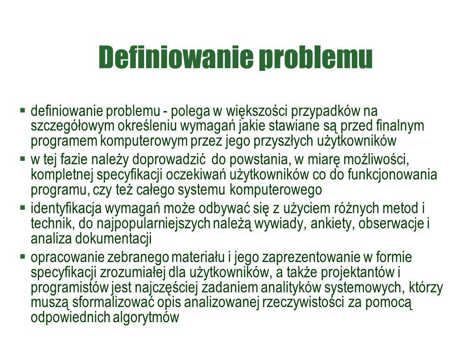 Definiowanie problemu  definiowanie problemu - polega w większości przypadków na szczegółowym określeniu wymagań jakie stawiane są przed finalnym pro