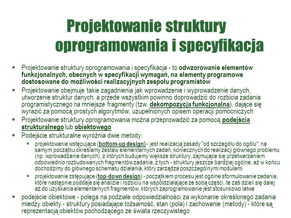 Projektowanie struktury oprogramowania i specyfikacja  Projektowanie struktury oprogramowania i specyfikacja - to odwzorowanie elementów funkcjonalny