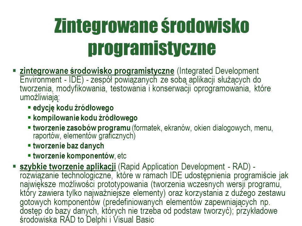 Zintegrowane środowisko programistyczne  zintegrowane środowisko programistyczne (Integrated Development Environment - IDE) - zespół powiązanych ze s