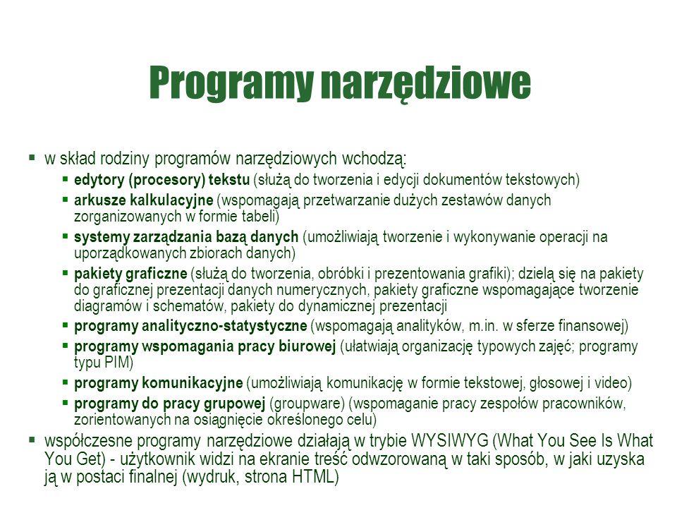 Programy narzędziowe  w skład rodziny programów narzędziowych wchodzą:  edytory (procesory) tekstu (służą do tworzenia i edycji dokumentów tekstowyc