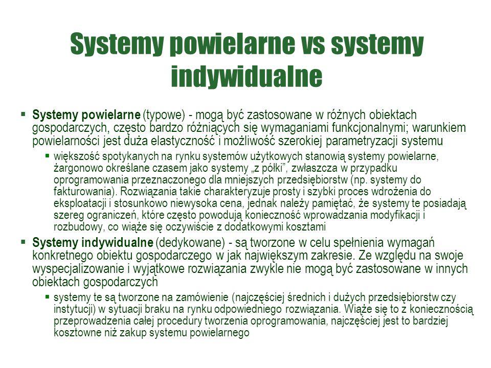 Systemy powielarne vs systemy indywidualne  Systemy powielarne (typowe) - mogą być zastosowane w różnych obiektach gospodarczych, często bardzo różni