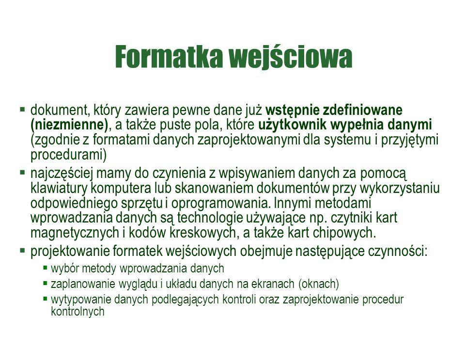 Formatka wejściowa  dokument, który zawiera pewne dane już wstępnie zdefiniowane (niezmienne), a także puste pola, które użytkownik wypełnia danymi (