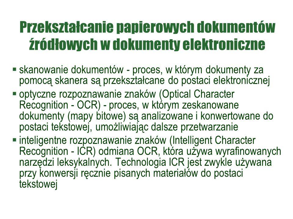 Przekształcanie papierowych dokumentów źródłowych w dokumenty elektroniczne  skanowanie dokumentów - proces, w którym dokumenty za pomocą skanera są