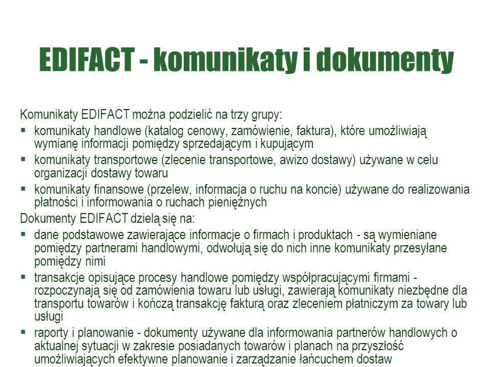 EDIFACT - komunikaty i dokumenty Komunikaty EDIFACT można podzielić na trzy grupy:  komunikaty handlowe (katalog cenowy, zamówienie, faktura), które