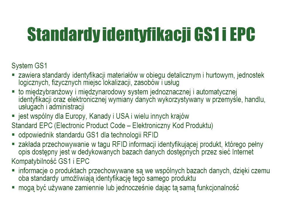 Standardy identyfikacji GS1 i EPC System GS1  zawiera standardy identyfikacji materiałów w obiegu detalicznym i hurtowym, jednostek logicznych, fizyc