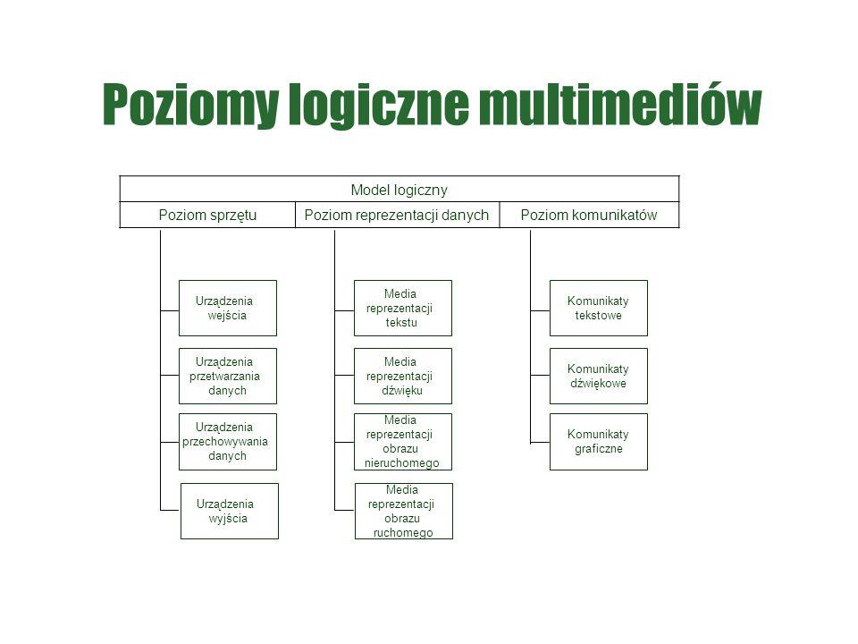 Poziomy logiczne multimediów Model logiczny Poziom sprzętu Poziom reprezentacji danychPoziom komunikatów Komunikaty tekstowe Komunikaty dźwiękowe Komu