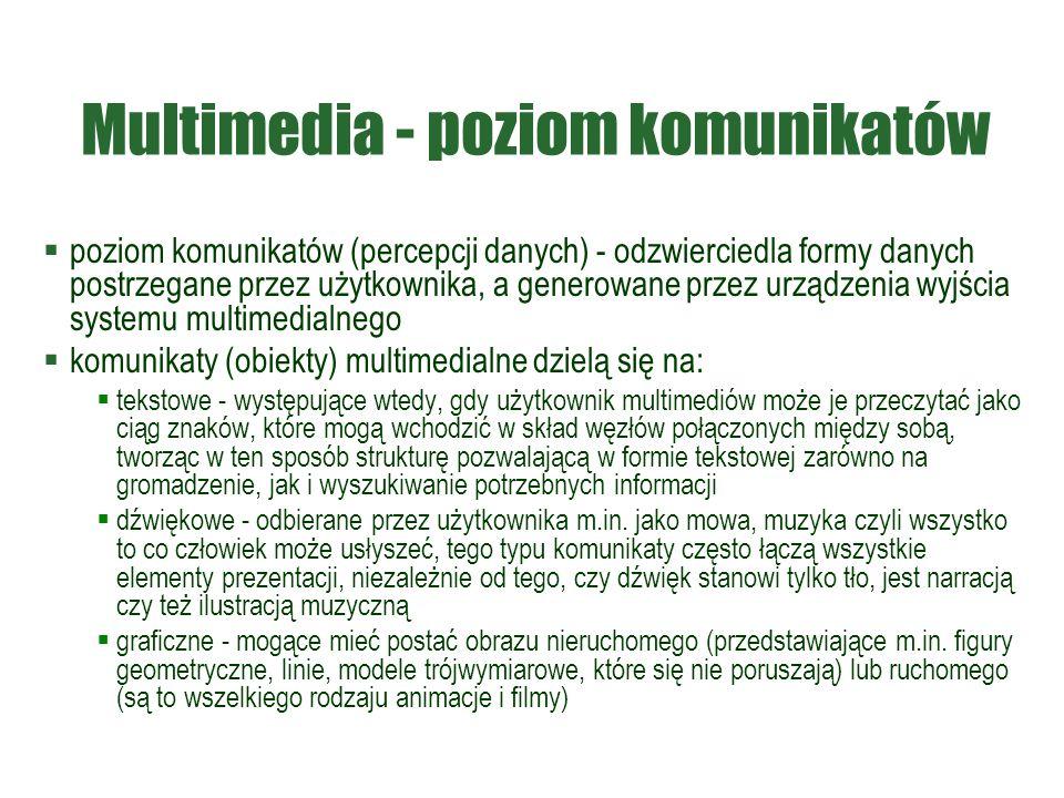 Multimedia - poziom komunikatów  poziom komunikatów (percepcji danych) - odzwierciedla formy danych postrzegane przez użytkownika, a generowane przez