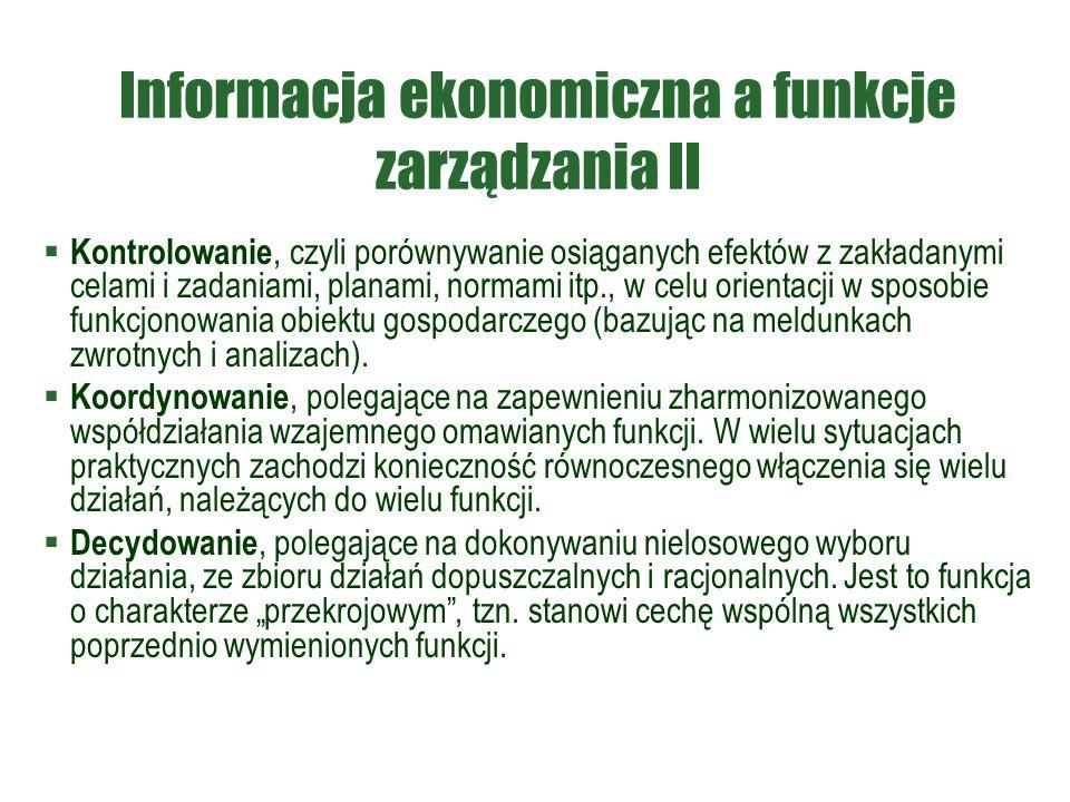 Informacja ekonomiczna a funkcje zarządzania II  Kontrolowanie, czyli porównywanie osiąganych efektów z zakładanymi celami i zadaniami, planami, norm