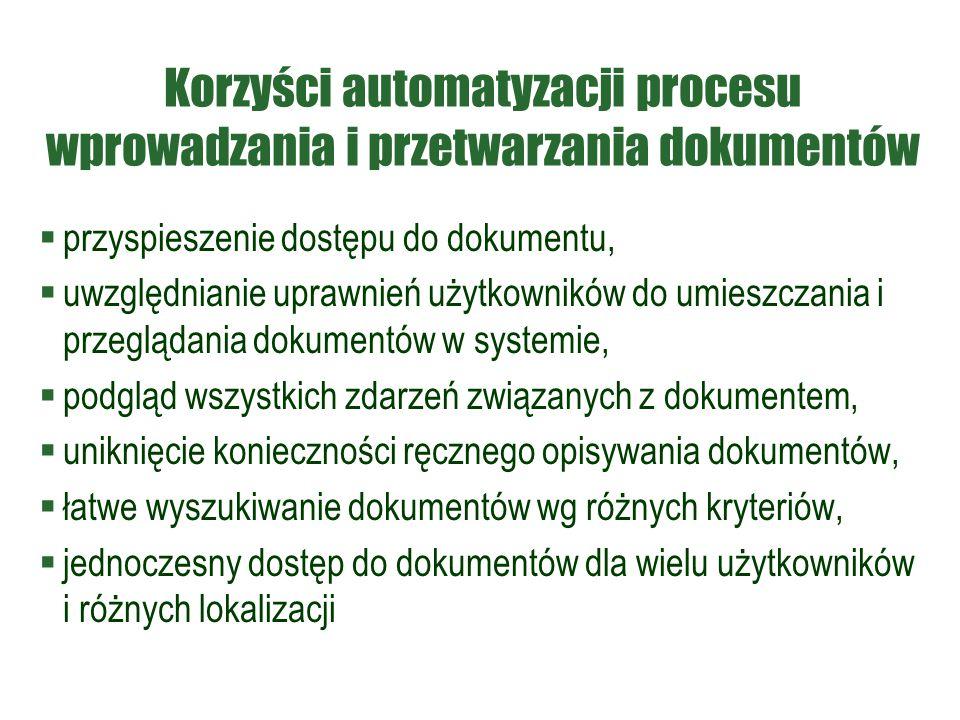 Korzyści automatyzacji procesu wprowadzania i przetwarzania dokumentów  przyspieszenie dostępu do dokumentu,  uwzględnianie uprawnień użytkowników d