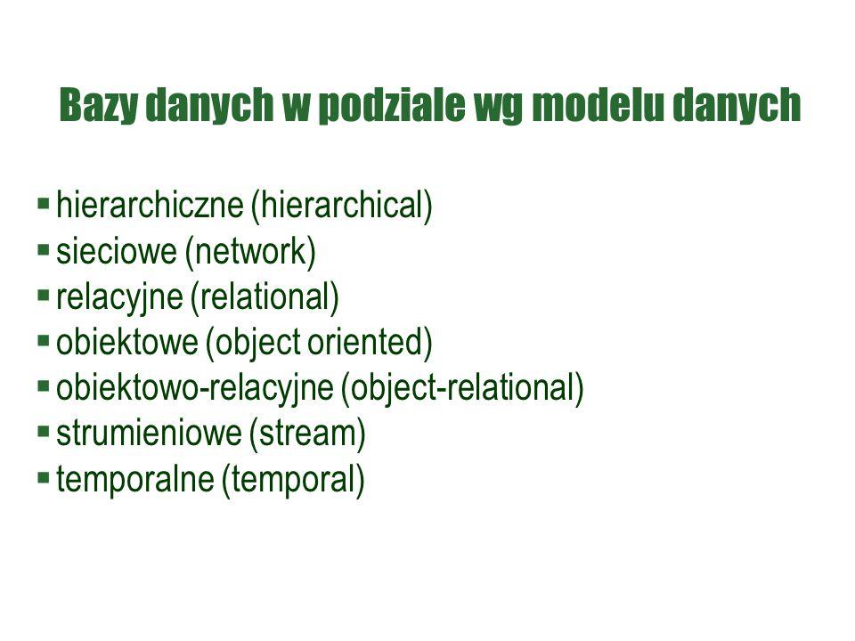 Bazy danych w podziale wg modelu danych  hierarchiczne (hierarchical)  sieciowe (network)  relacyjne (relational)  obiektowe (object oriented)  o