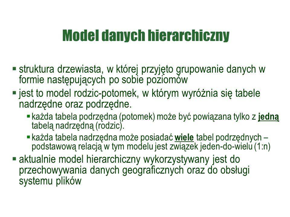 Model danych hierarchiczny  struktura drzewiasta, w której przyjęto grupowanie danych w formie następujących po sobie poziomów  jest to model rodzic
