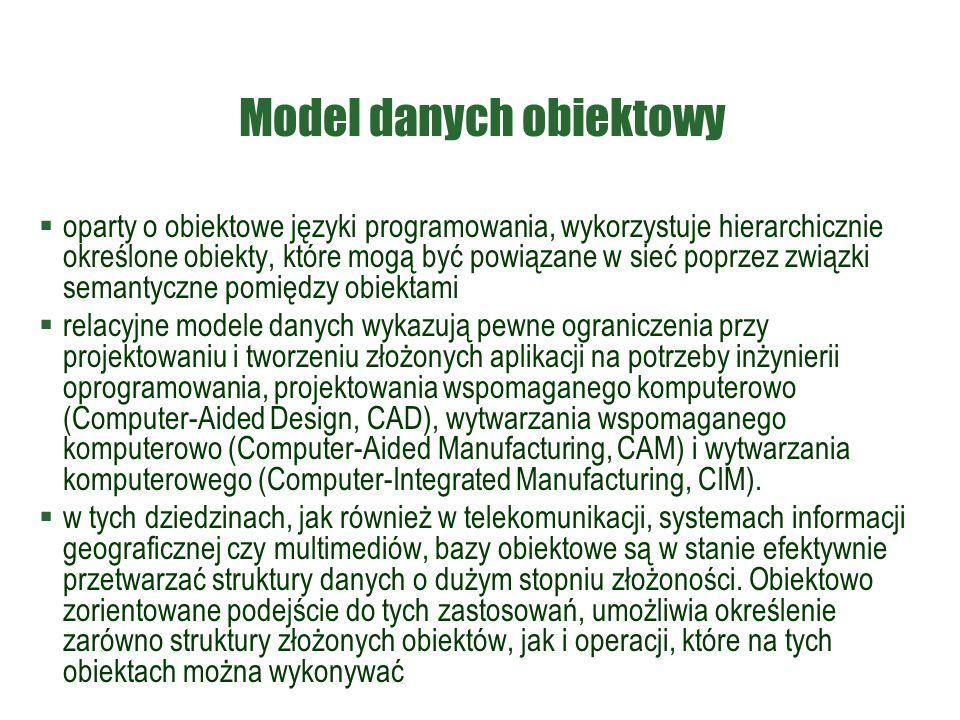 Model danych obiektowy  oparty o obiektowe języki programowania, wykorzystuje hierarchicznie określone obiekty, które mogą być powiązane w sieć poprz