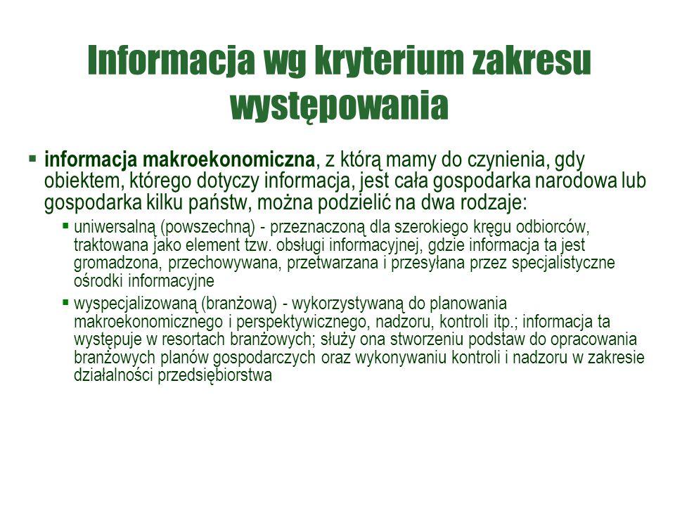 Informacja wg kryterium zakresu występowania  informacja makroekonomiczna, z którą mamy do czynienia, gdy obiektem, którego dotyczy informacja, jest