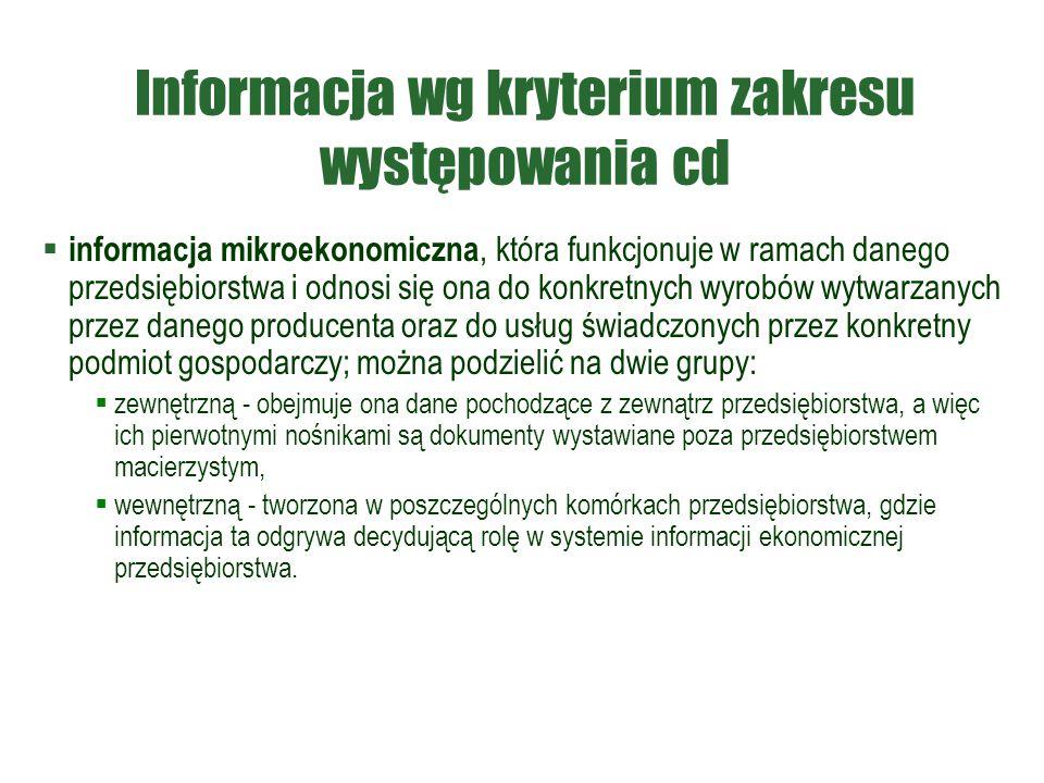 Informacja wg kryterium zakresu występowania cd  informacja mikroekonomiczna, która funkcjonuje w ramach danego przedsiębiorstwa i odnosi się ona do