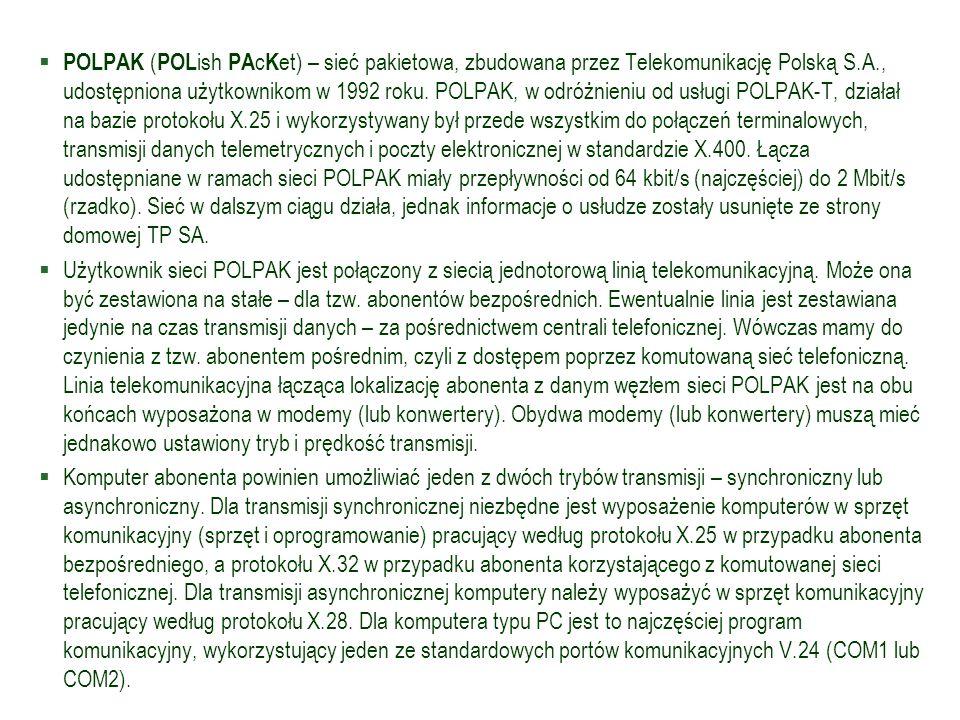  POLPAK ( POL ish PA c K et) – sieć pakietowa, zbudowana przez Telekomunikację Polską S.A., udostępniona użytkownikom w 1992 roku. POLPAK, w odróżnie