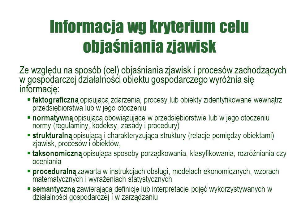 Informacja wg kryterium celu objaśniania zjawisk Ze względu na sposób (cel) objaśniania zjawisk i procesów zachodzących w gospodarczej działalności ob