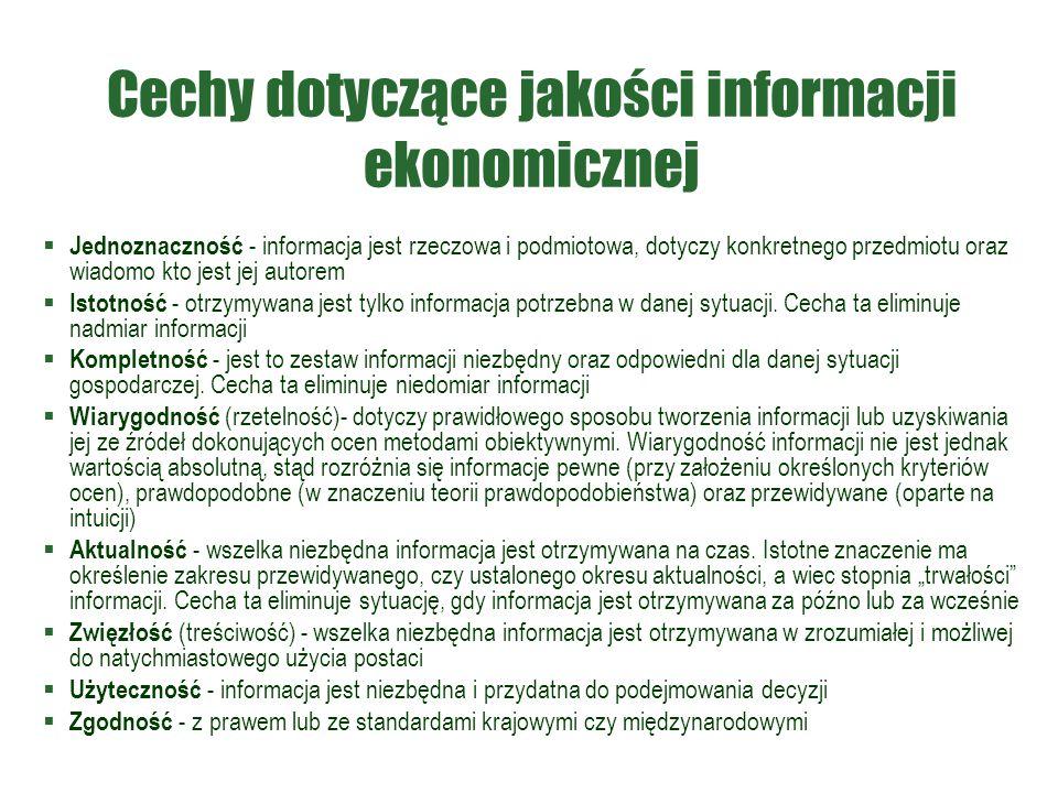 Cechy dotyczące jakości informacji ekonomicznej  Jednoznaczność - informacja jest rzeczowa i podmiotowa, dotyczy konkretnego przedmiotu oraz wiadomo