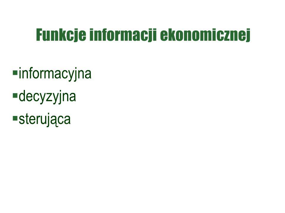 Funkcje informacji ekonomicznej  informacyjna  decyzyjna  sterująca