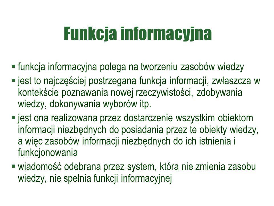 Funkcja informacyjna  funkcja informacyjna polega na tworzeniu zasobów wiedzy  jest to najczęściej postrzegana funkcja informacji, zwłaszcza w konte