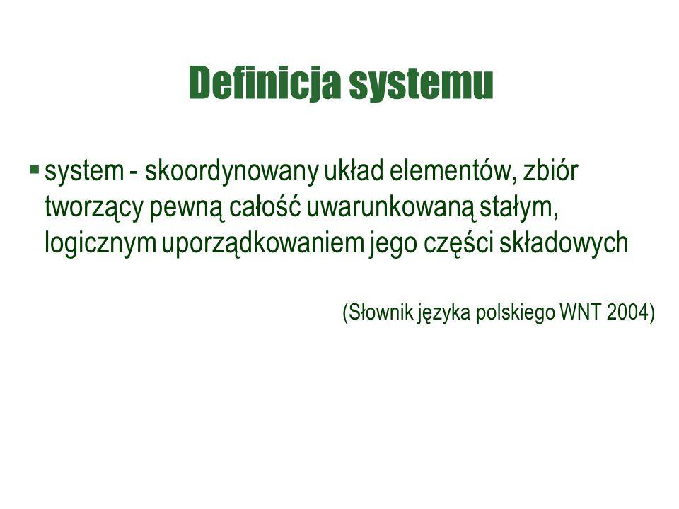 Definicja systemu  system - skoordynowany układ elementów, zbiór tworzący pewną całość uwarunkowaną stałym, logicznym uporządkowaniem jego części skł