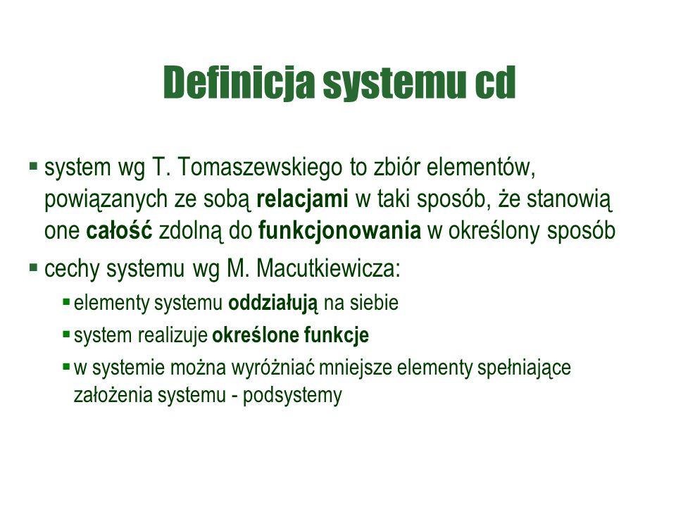 Definicja systemu cd  system wg T. Tomaszewskiego to zbiór elementów, powiązanych ze sobą relacjami w taki sposób, że stanowią one całość zdolną do f