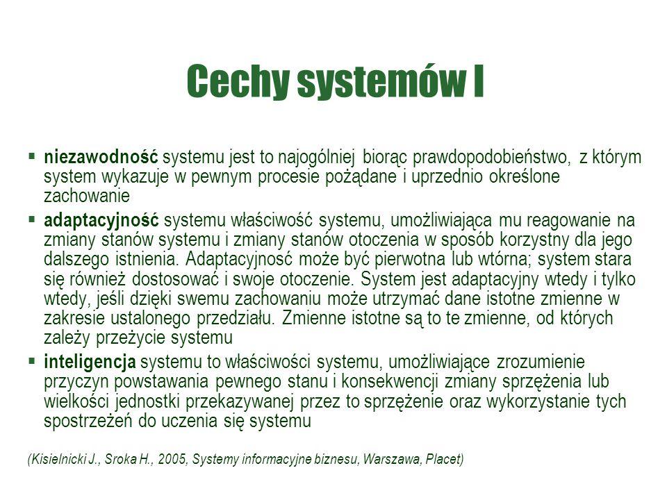 Cechy systemów I  niezawodność systemu jest to najogólniej biorąc prawdopodobieństwo, z którym system wykazuje w pewnym procesie pożądane i uprzednio