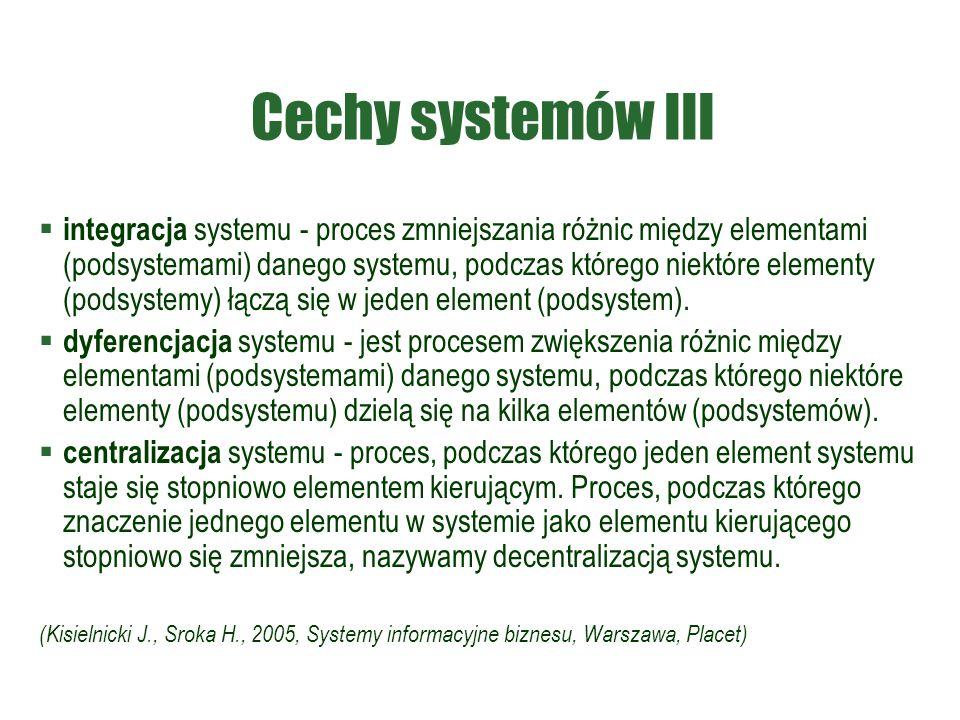 Cechy systemów III  integracja systemu - proces zmniejszania różnic między elementami (podsystemami) danego systemu, podczas którego niektóre element