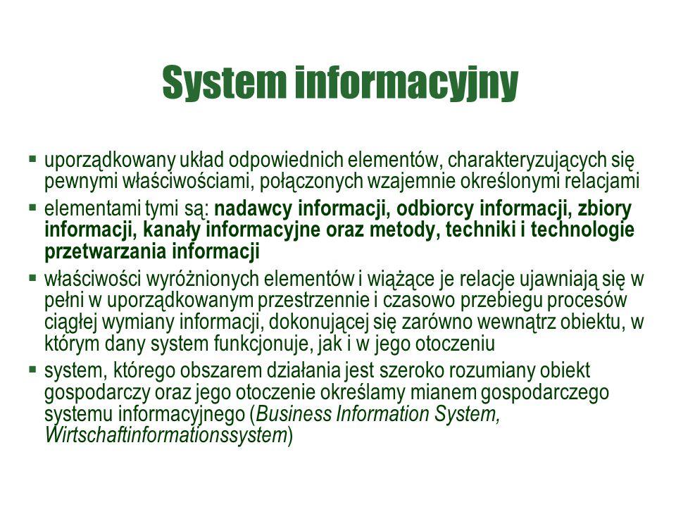 System informacyjny  uporządkowany układ odpowiednich elementów, charakteryzujących się pewnymi właściwościami, połączonych wzajemnie określonymi rel