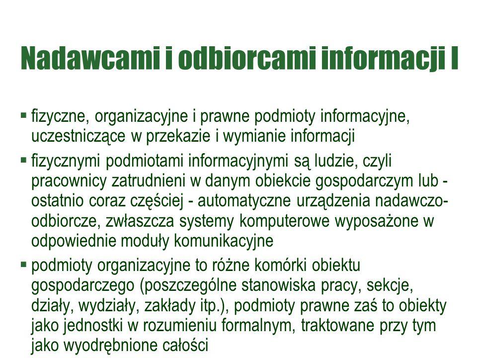 Nadawcami i odbiorcami informacji I  fizyczne, organizacyjne i prawne podmioty informacyjne, uczestniczące w przekazie i wymianie informacji  fizycz