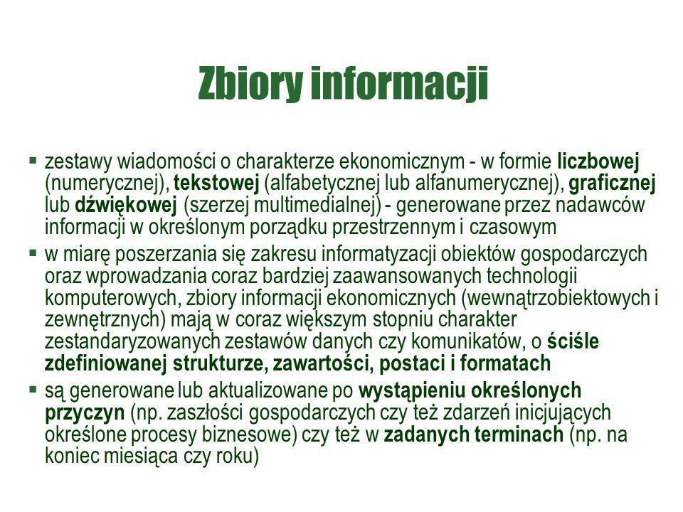 Zbiory informacji  zestawy wiadomości o charakterze ekonomicznym - w formie liczbowej (numerycznej), tekstowej (alfabetycznej lub alfanumerycznej), g