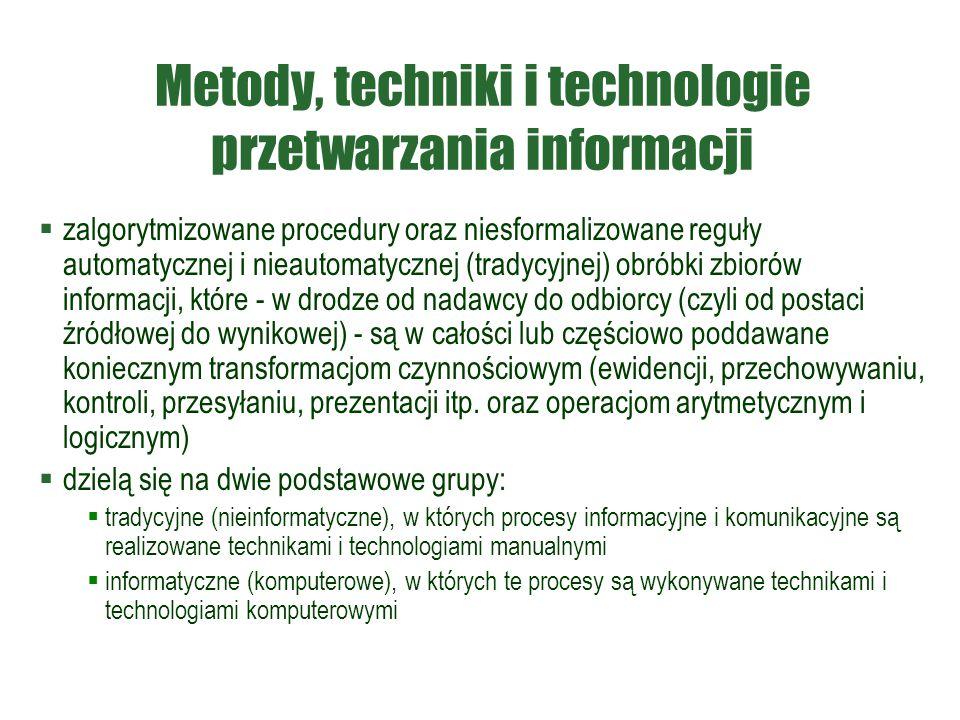 Metody, techniki i technologie przetwarzania informacji  zalgorytmizowane procedury oraz niesformalizowane reguły automatycznej i nieautomatycznej (t