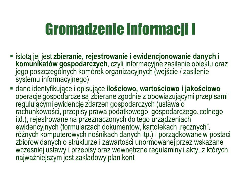 Gromadzenie informacji I  istotą jej jest zbieranie, rejestrowanie i ewidencjonowanie danych i komunikatów gospodarczych, czyli informacyjne zasilani