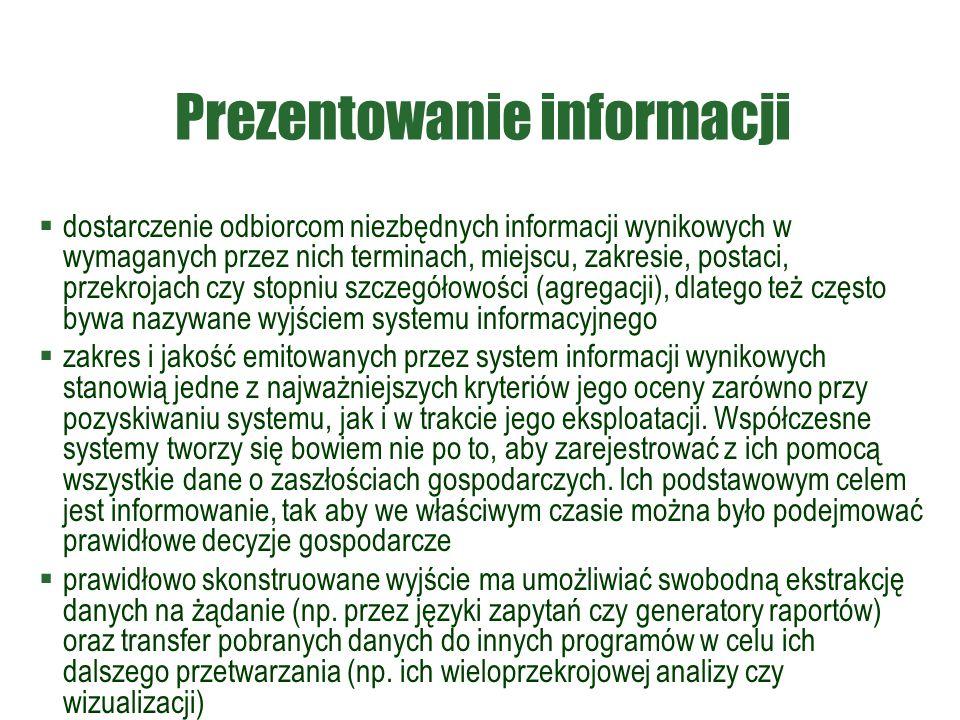 Prezentowanie informacji  dostarczenie odbiorcom niezbędnych informacji wynikowych w wymaganych przez nich terminach, miejscu, zakresie, postaci, prz