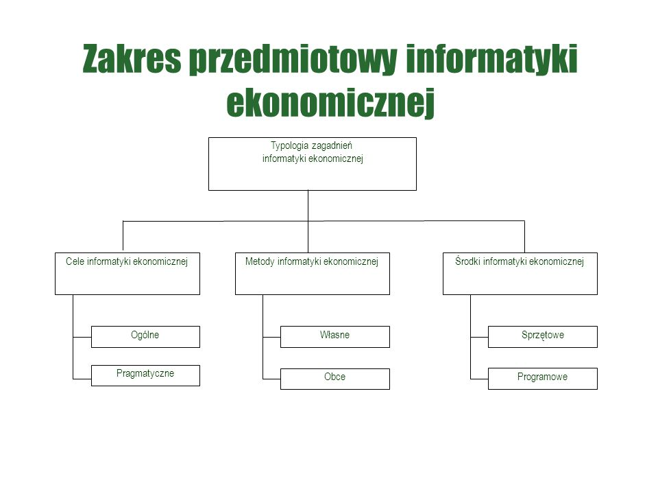 Zakres przedmiotowy informatyki ekonomicznej Typologia zagadnień informatyki ekonomicznej Cele informatyki ekonomicznejMetody informatyki ekonomicznej