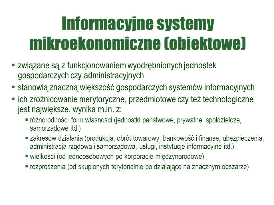 Informacyjne systemy mikroekonomiczne (obiektowe)  związane są z funkcjonowaniem wyodrębnionych jednostek gospodarczych czy administracyjnych  stano