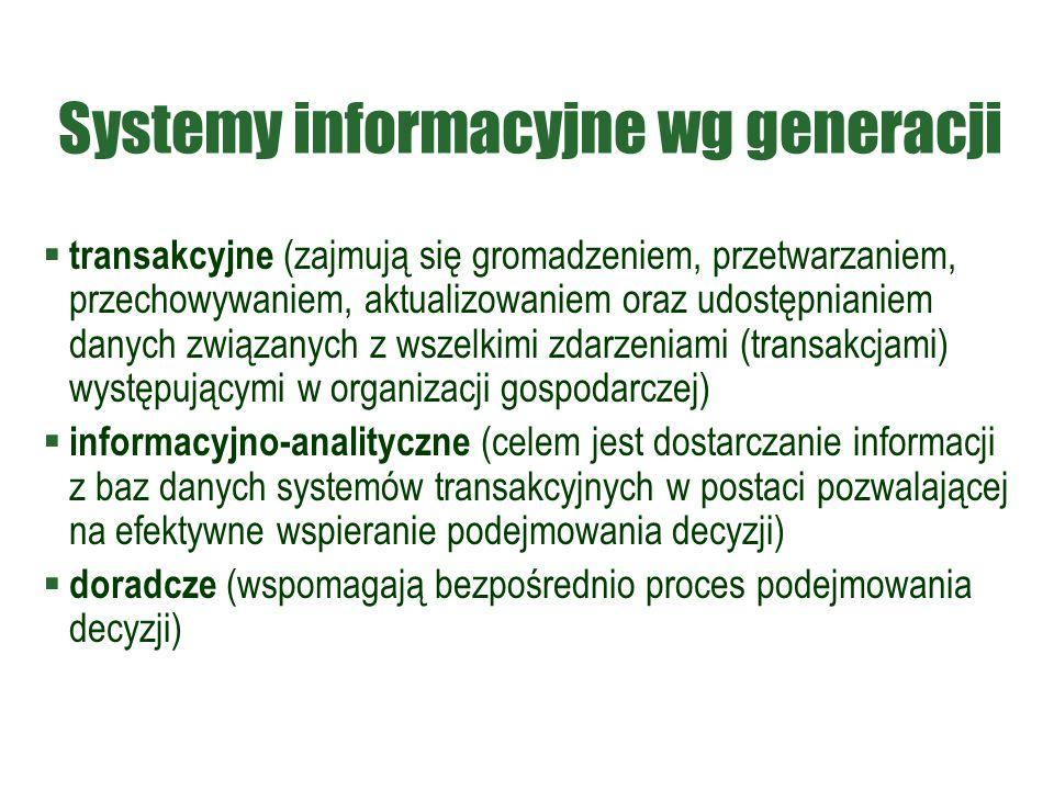 Systemy informacyjne wg generacji  transakcyjne (zajmują się gromadzeniem, przetwarzaniem, przechowywaniem, aktualizowaniem oraz udostępnianiem danyc