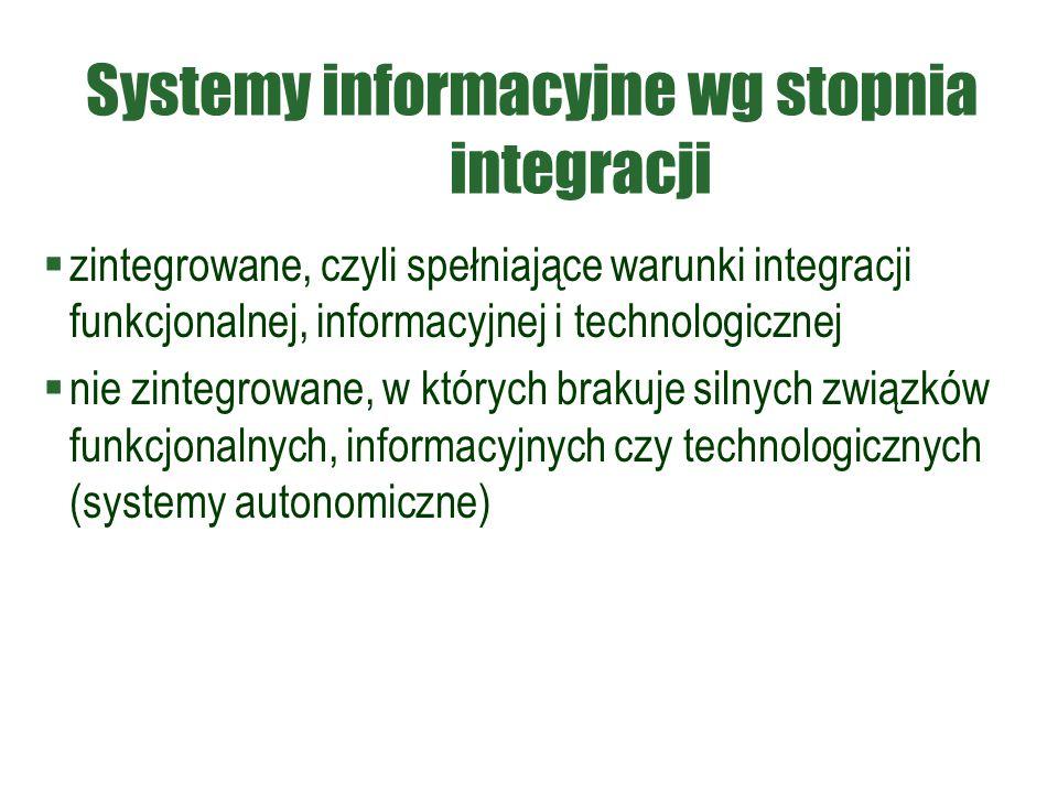Systemy informacyjne wg stopnia integracji  zintegrowane, czyli spełniające warunki integracji funkcjonalnej, informacyjnej i technologicznej  nie z
