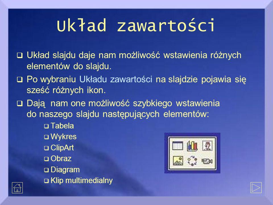 Układ zawartości  Układ slajdu daje nam możliwość wstawienia różnych elementów do slajdu.  Po wybraniu Układu zawartości na slajdzie pojawia się sze