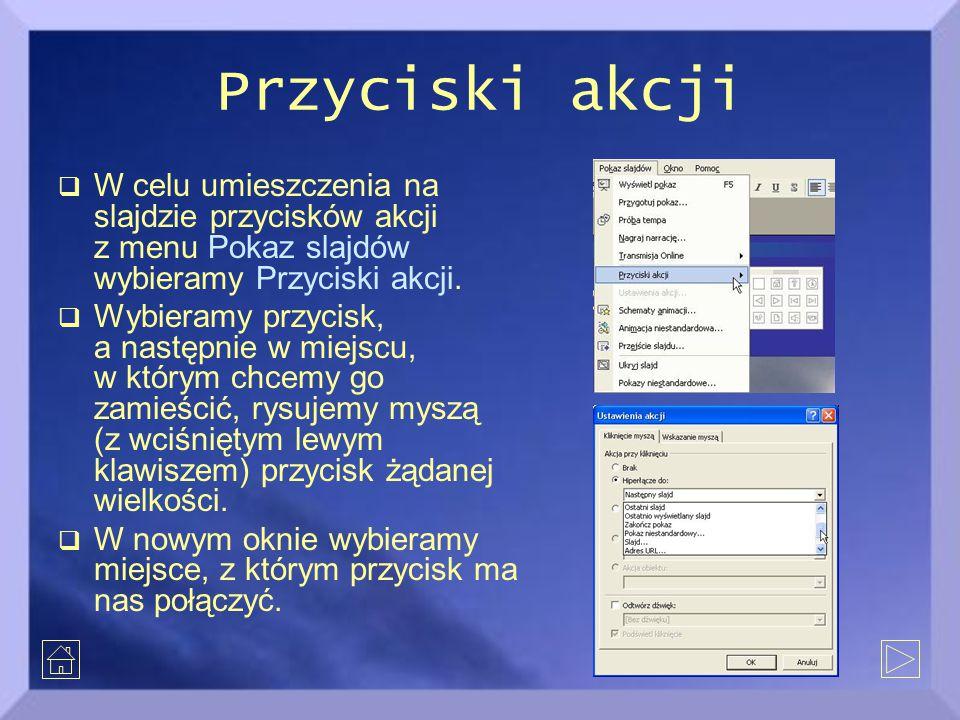 Przyciski akcji  W celu umieszczenia na slajdzie przycisków akcji z menu Pokaz slajdów wybieramy Przyciski akcji.  Wybieramy przycisk, a następnie w