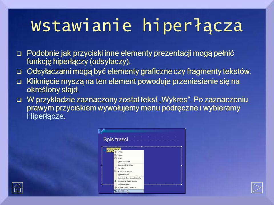 Wstawianie hiperłącza  Podobnie jak przyciski inne elementy prezentacji mogą pełnić funkcję hiperłączy (odsyłaczy).  Odsyłaczami mogą być elementy g